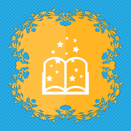 reading app: Magic Book sign icon. Open book symbol. Floral flat design on a blue abstract background with place for your text. illustration