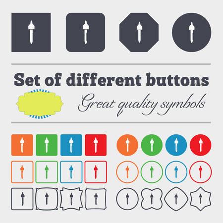 procreation: dropper sign icon. pipette symbol. Big set of colorful, diverse, high-quality buttons. illustration Stock Photo