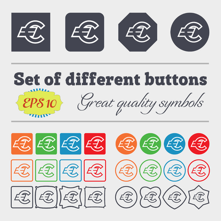 eur: Euro EUR icon sign. Big set of colorful, diverse, high-quality buttons. illustration