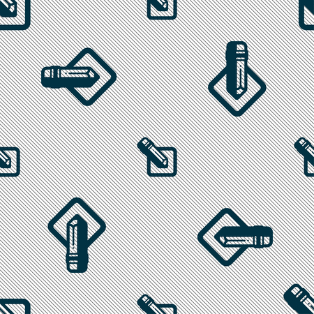 pencil icon sign. Seamless pattern with geometric texture. illustration Stock Photo