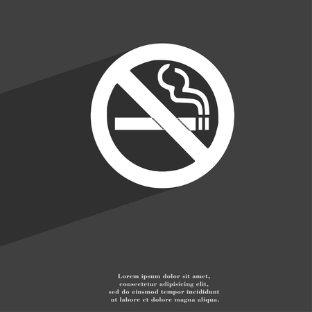 prohibido fumar: no fumar icono símbolo Diseño plano web moderno con una larga sombra y el espacio para el texto. ilustración