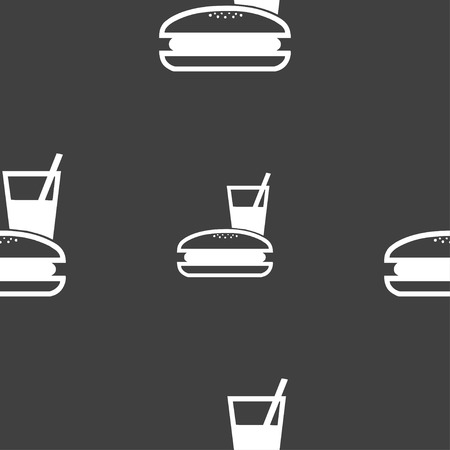 lunch box: lunch box icon sign. Seamless pattern on a gray background. illustration