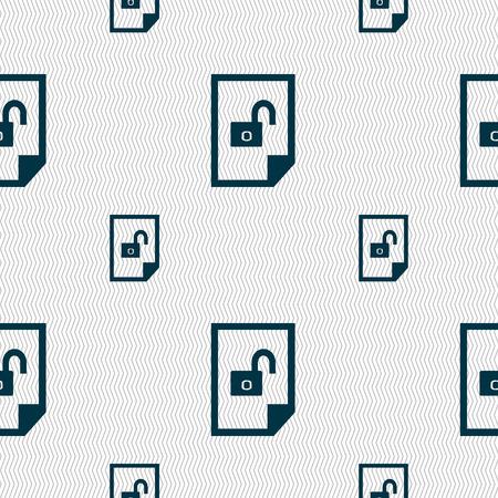 unlocked: File unlocked icon sign. Seamless pattern with geometric texture. illustration