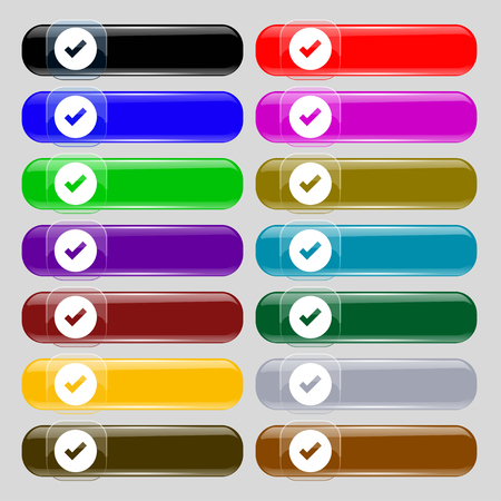 tik: Check mark, tik icon sign. Set from fourteen multi-colored glass buttons with place for text. illustration