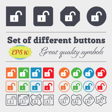 secret number: open lock icon sign. Big set of colorful, diverse, high-quality buttons. illustration