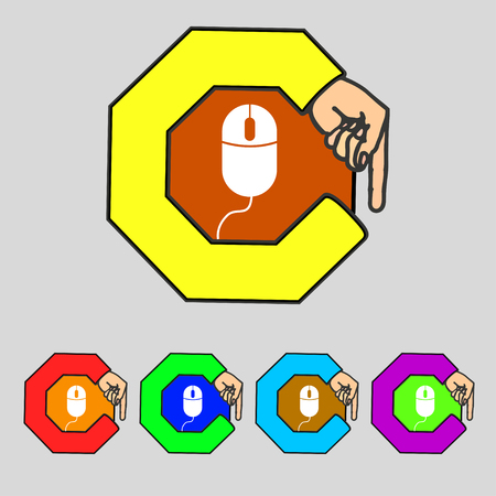 scroll wheel: Computer mouse sign icon. Optical with wheel symbol. Set colourful buttons. illustration