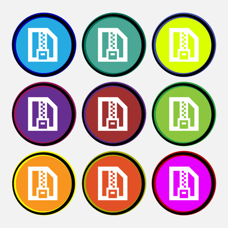 compressed: Archive file, Download compressed, ZIP zipped icon sign. Nine multi-colored round buttons. illustration
