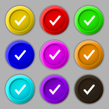 verify: Check mark, tik icon sign. symbol on nine round colourful buttons. illustration