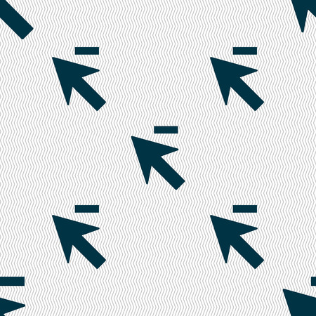 cursor arrow: Cursor, arrow minus icon sign. Seamless abstract background with geometric shapes. illustration