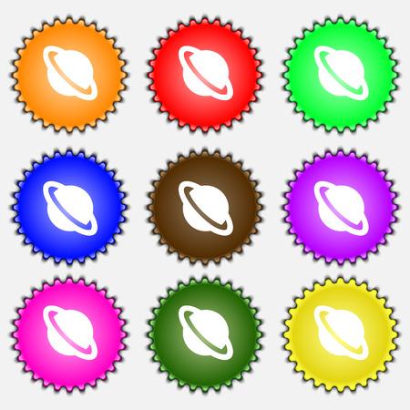globus: Jupiter planet icon sign. A set of nine different colored labels. illustration