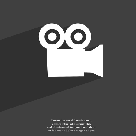 journalistic: video camera icon symbol Flat modern web design with long shadow and space for your text. illustration