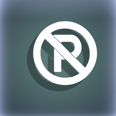 warden: No parking icon symbol on the blue-green abstract background with shadow and space for your text. illustration