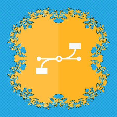 bezier: Bezier Curve icon sign. Floral flat design on a blue abstract background with place for your text. illustration