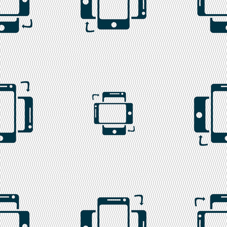 data synchronization: Synchronization sign icon. smartphones sync symbol. Data exchange. Seamless abstract background with geometric shapes. illustration