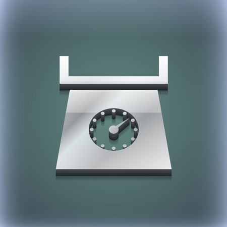 grams: kitchen scales icon symbol. 3D style. Trendy, modern design with space for your text illustration. Raster version Stock Photo