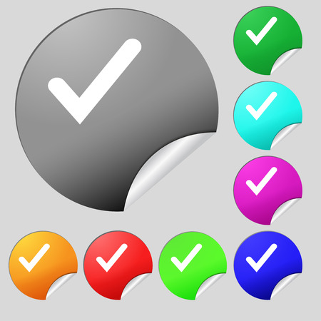 tik: Check mark, tik icon sign. Set of eight multi-colored round buttons, stickers. illustration