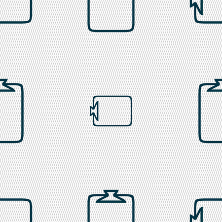 attach: File annex icon. Paper clip symbol. Attach sign. Seamless abstract background with geometric shapes. illustration
