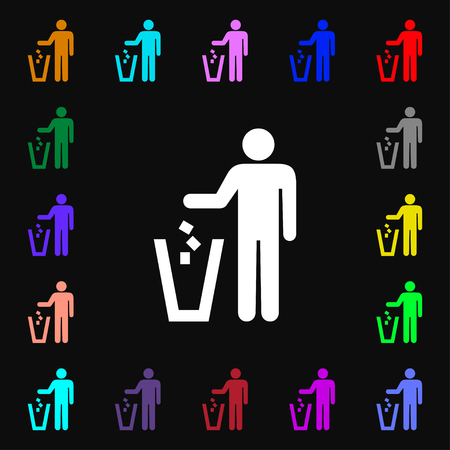 scrunched: throw away the trash icon sign. Lots of colorful symbols for your design. illustration