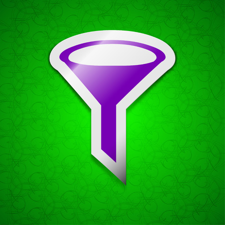 filtering: Funnel icon sign. Symbol chic colored sticky label on green background. illustration