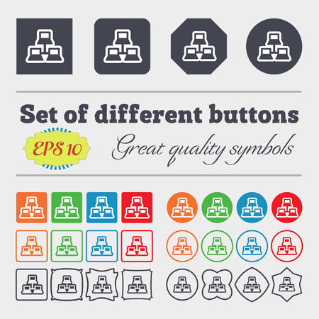 find staff: local area network icon sign. Big set of colorful, diverse, high-quality buttons. illustration