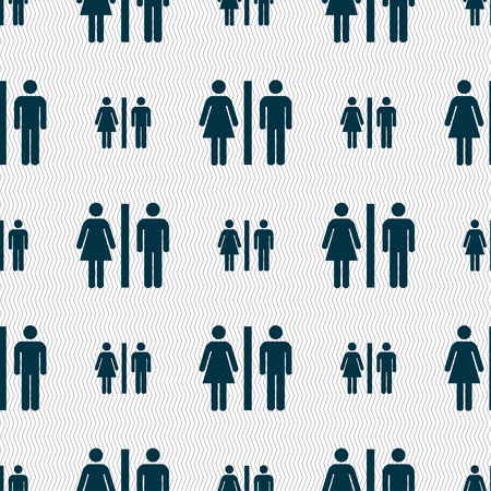 gent's: silhouette of a man and a woman icon sign. Seamless pattern with geometric texture. illustration