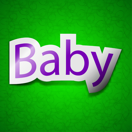 bebe a bordo: Bebé a bordo icono de la muestra. Símbolo elegante de color etiqueta adhesiva en el fondo verde. ilustración