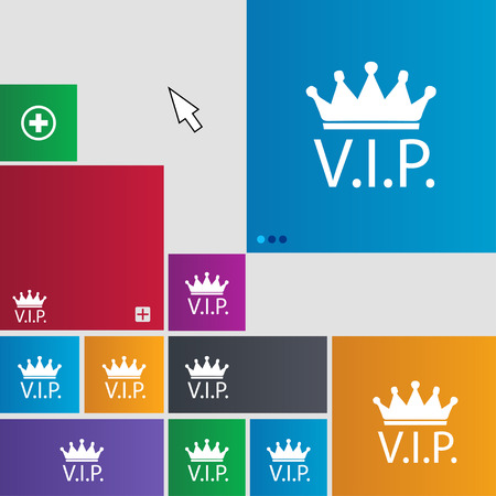 very important person sign: Vip sign icon. Membership symbol. Very important person. Set of colored buttons. illustration