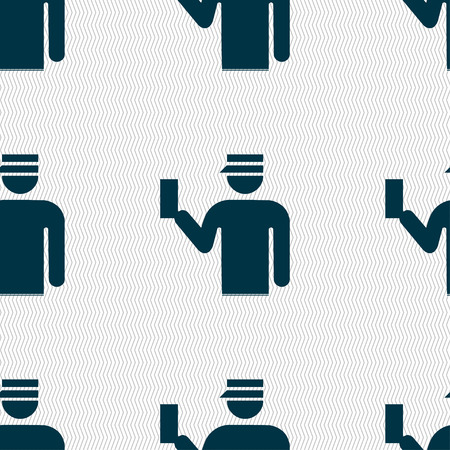 inspector: Inspector icon sign. Seamless pattern with geometric texture. illustration