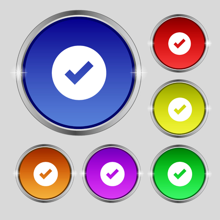tik: Check mark, tik icon sign. Round symbol on bright colourful buttons. illustration