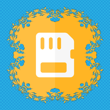 memory card: compact memory card . Floral flat design on a blue abstract background with place for your text. illustration