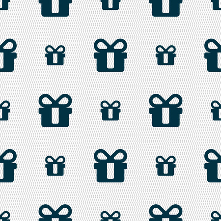 shopping questions: gift icon sign. Seamless pattern with geometric texture. illustration
