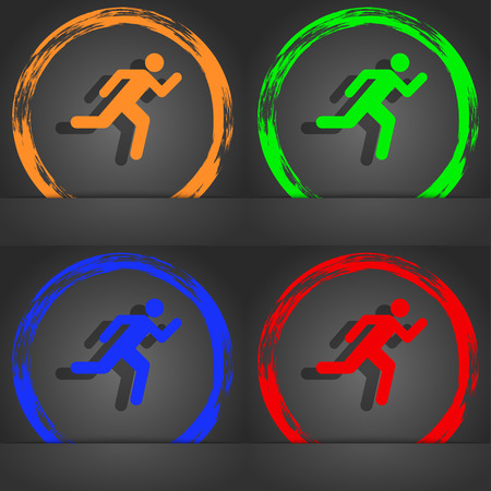 runner up: running man icon symbol. Fashionable modern style. In the orange, green, blue, green design. illustration Stock Photo