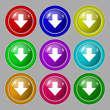 downloading: Download sign. Downloading flat icon. Load label. Symbol on nine round colourful buttons. illustration Stock Photo