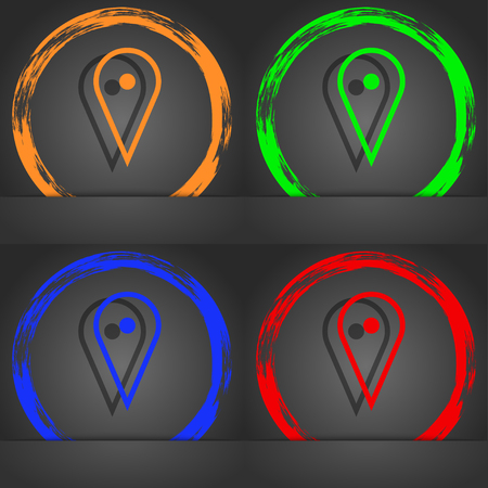 web portal: map poiner icon symbol. Fashionable modern style. In the orange, green, blue, green design. illustration Stock Photo
