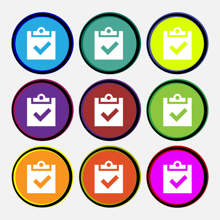 tik: Check mark, tik icon sign. Nine multi-colored round buttons. illustration