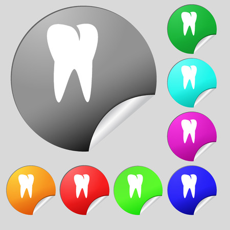 cavity braces: tooth icon. Set of eight multi colored round buttons, stickers. illustration