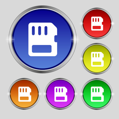 memory card: compact memory card icon sign. Round symbol on bright colourful buttons. illustration Stock Photo