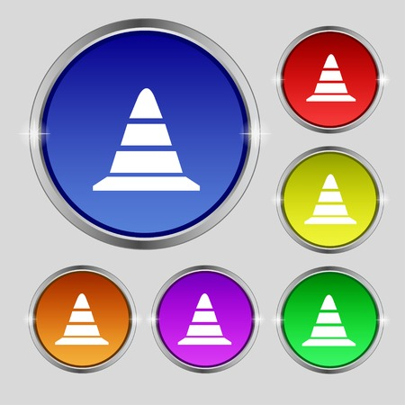 traffic pylon: road cone icon. Set colourful buttons. illustration