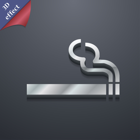 smoldering cigarette: cigarette smoke icon symbol. 3D style. Trendy, modern design with space for your text illustration. Rastrized copy