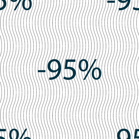 95: 95 percent discount sign icon. Sale symbol. Special offer label. Seamless pattern with geometric texture. illustration