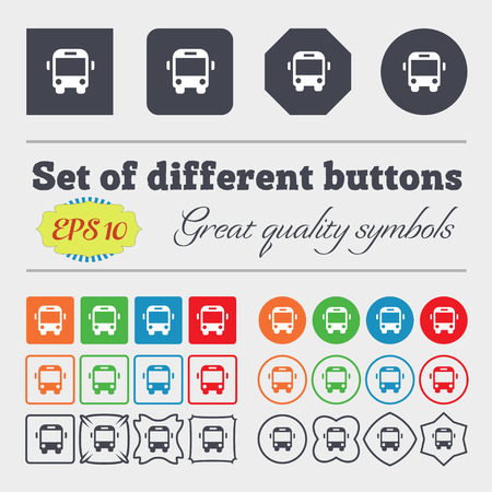 schoolbus: Bus icon sign Big set of colorful, diverse, high-quality buttons. illustration