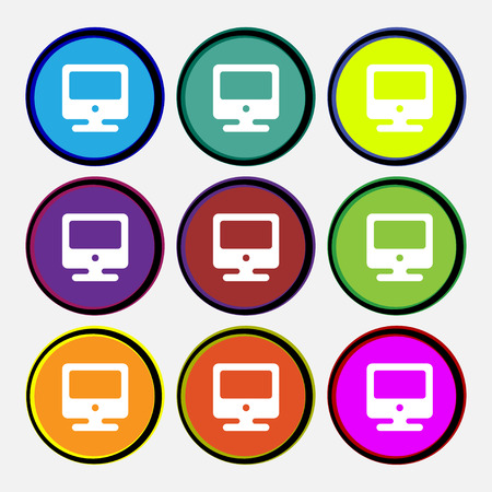 flatscreen: monitor icon sign. Nine multi colored round buttons. illustration
