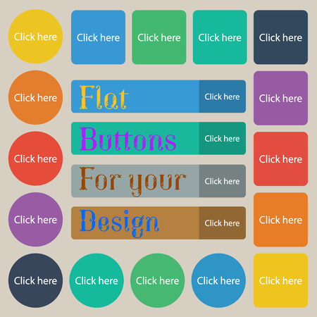 press button: Click here sign icon. Press button. Set of twenty colored flat, round, square and rectangular buttons. illustration Stock Photo