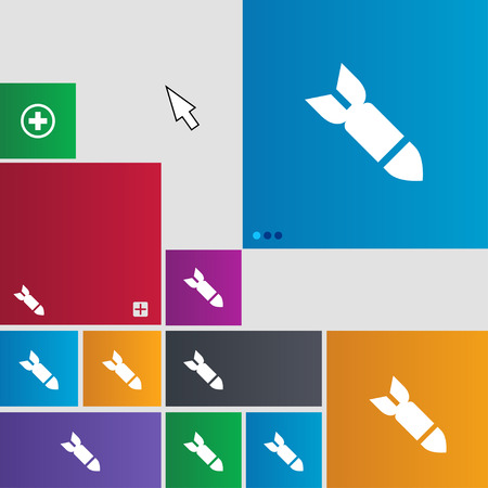 ballistic missile: Missile,Rocket weapon icon sign. Metro style buttons. Modern interface website buttons with cursor pointer. illustration