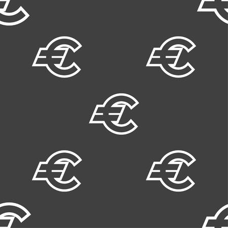 eur: Euro EUR icon sign. Seamless pattern on a gray background. illustration