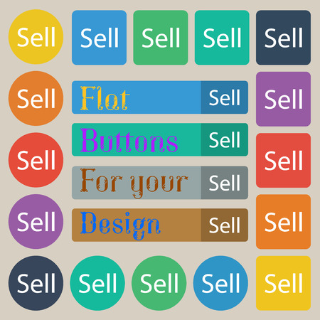 contributor: Sell sign icon. Contributor earnings button. Set of twenty colored flat, round, square and rectangular buttons. illustration