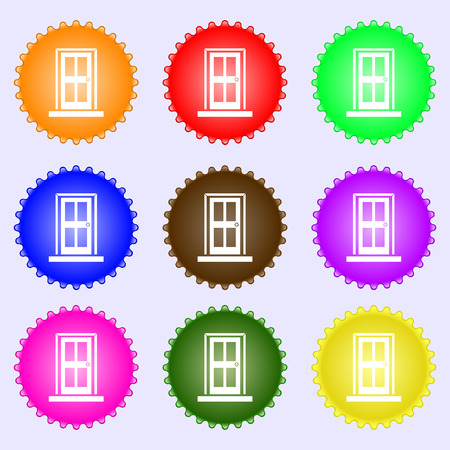 doorknob: Door icon sign. A set of nine different colored labels. illustration Stock Photo