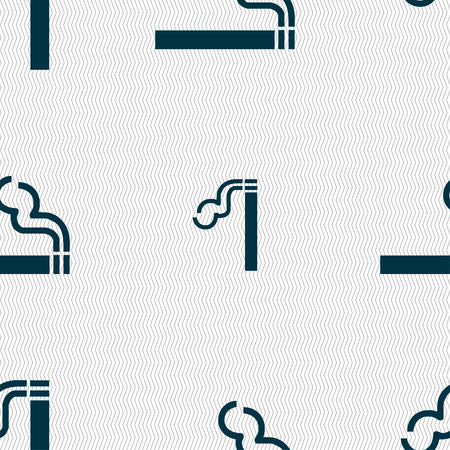 pernicious habit: cigarette smoke icon sign. Seamless pattern with geometric texture. illustration Stock Photo