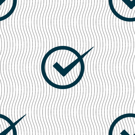 checkbox: Check mark sign icon. Checkbox button. Seamless pattern with geometric texture. illustration