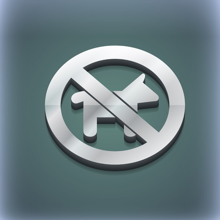 dog walking: dog walking is prohibited icon symbol. 3D style. Trendy, modern design with space for your text illustration. Raster version Stock Photo